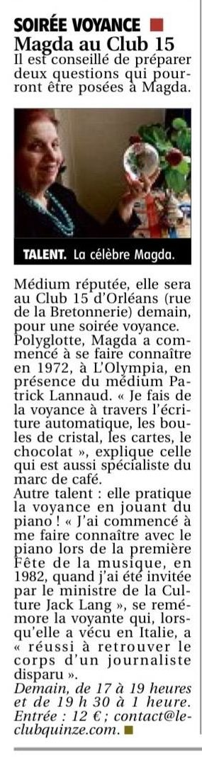 Article Soirée Voyance Magda Cornière à Orleans le 15 Mars 2019